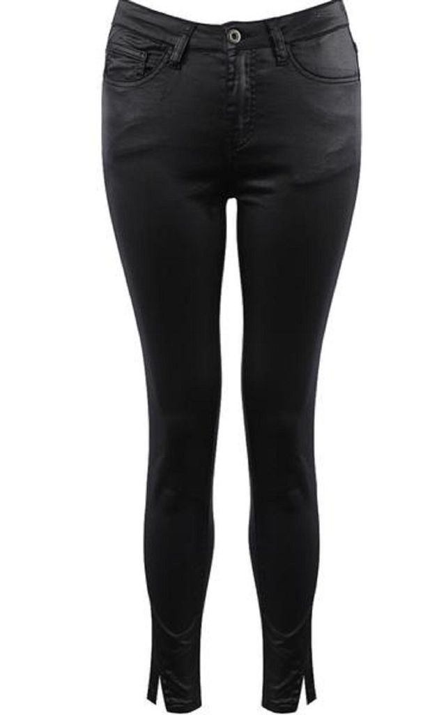 Queen Heart Wax Coated Jean in Black by Style Mode