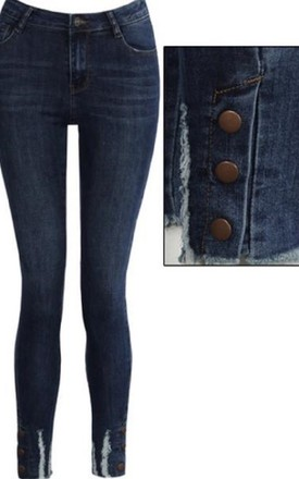 Queen Heart Button Denim Jeans by Style Mode