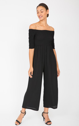 Wide Leg Culotte Off Shoulder Bardot Jumpsuit Black by likemary