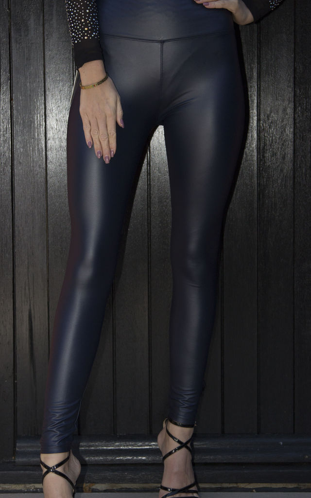 Tilly Navy Pvc Leggings by Giorgi London
