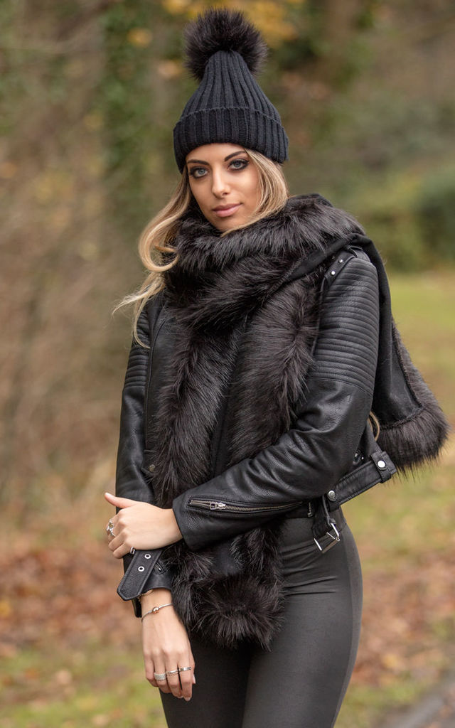 Adalee Black Wool Touch and Faux Fur Scarf by Faux England