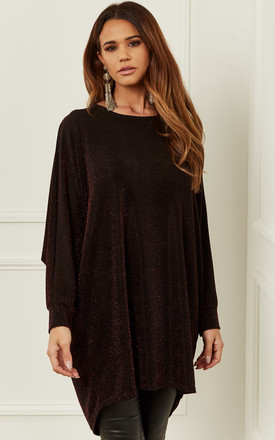 Dark Red Oversized Dipped Hem Shimmer Top by Bella and Blue Product photo