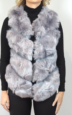Grey Faux Fur Gilet by Style Mode