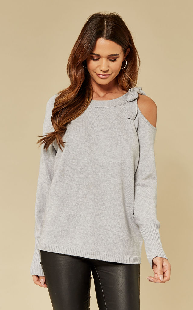 Exclusive Light Grey Melange Cold Shoulder Tie Detail Knit Top by VILA