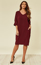 Burgundy Relaxed Fit Midi Dress by DIVINE GRACE
