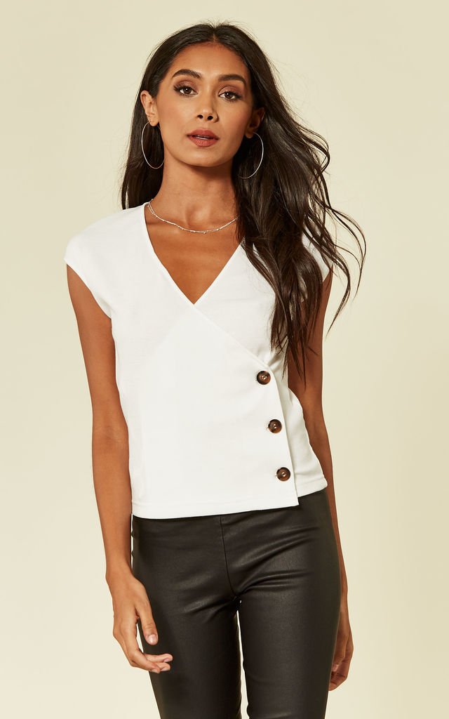 ed1ce7bdda0 White Ribbed Button Side Top | UNIQUE21 | SilkFred