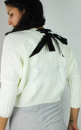 New Ribbon Bow Back Cropped Knit Jumper Top by Re:dream Vintage Product photo
