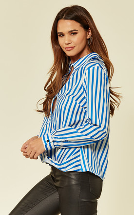 Blue Pinstripe Keyhole Back Shirt by Oeuvre
