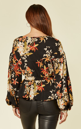 Black Floral Print Wrap over Blouse by Oeuvre