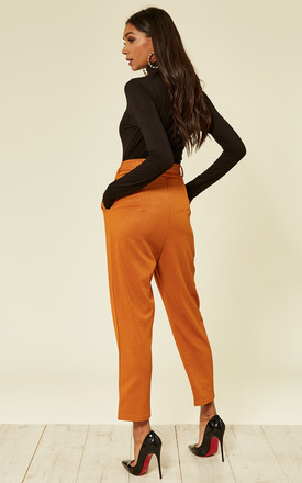 Burnt Orange high Waist Trousers with a belt by Oeuvre