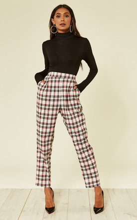 High Waist Check Trousers by Oeuvre