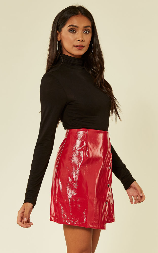 Red PU Mini Skirt by Oeuvre