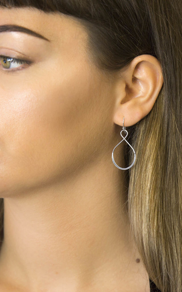 Sterling Silver Teardrop Wire Earrings by Martha Jackson Jewellery