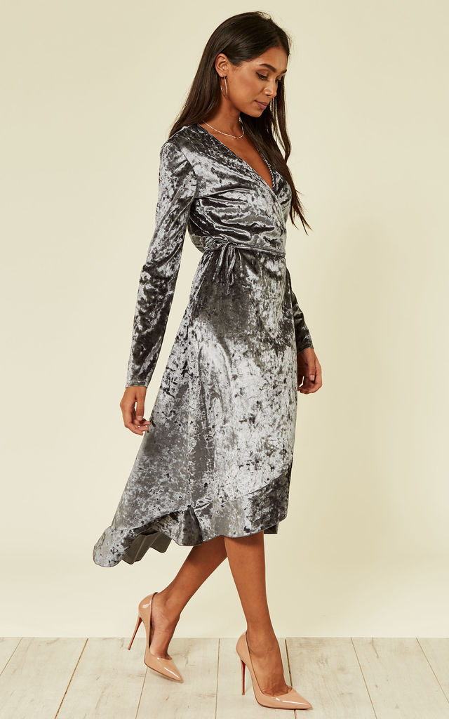 chelsea wrap midi dress in grey by From London with Love