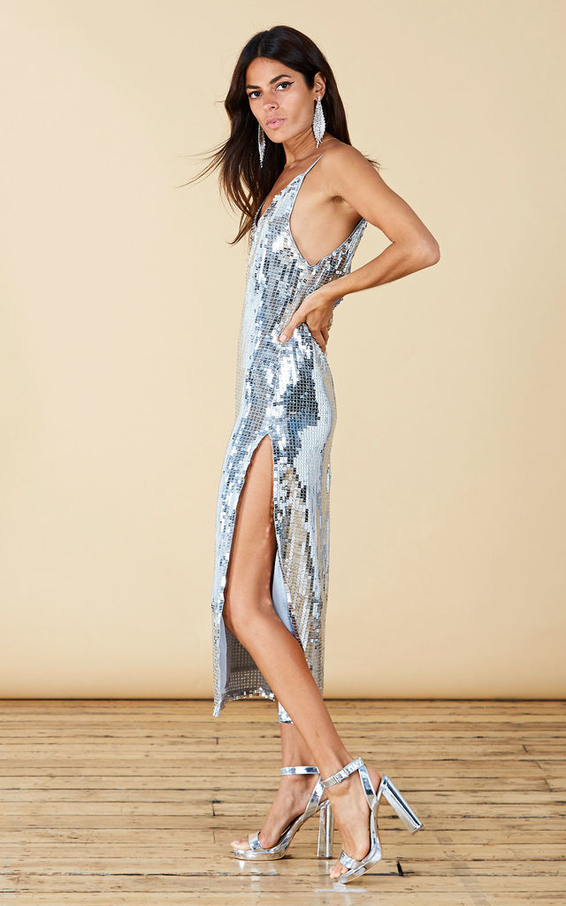 OOLA SEQUIN SLIP DRESS IN SILVER image