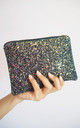 Glitter Makeup Bag in Black Iridescent by Suki Sabur Designs