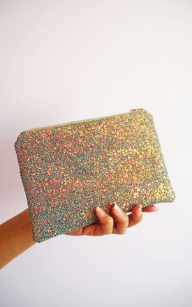 Glitter Mini Clutch Bag In Grey & Rose Gold by Suki Sabur Designs Product photo