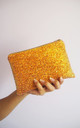 Glitter Makeup Bag in Burnt Orange by Suki Sabur Designs