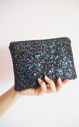 Glitter Mini Clutch Bag In Black Rainbow by Suki Sabur Designs Product photo