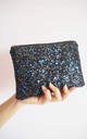 Glitter Makeup Bag in Black Rainbow by Suki Sabur Designs