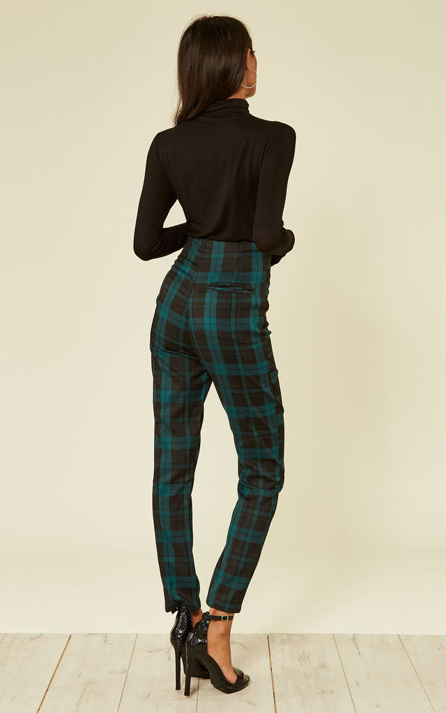 Bonnie Skinny High Waisted Trousers in Green and Black Check by Collectif Clothing