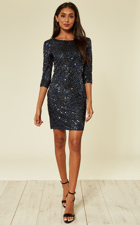 Navy Blue Sequin Knitted Metallic Bodycon Dress by MISSI LONDON Product photo