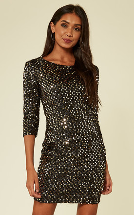 Black Gold Sequin Knitted Metallic Bodycon Dress by MISSI LONDON Product photo