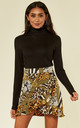 Yellow Satin Animal Print Frill Wrap Mini Skirt by MISSI LONDON