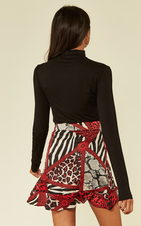 Red Satin Animal Print Frill Wrap Mini Skirt by MISSI LONDON