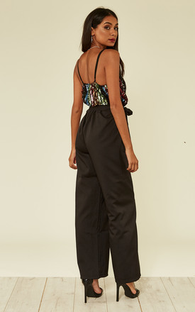 Black Sequin Stripe Wrap Jumpsuit by MISSI LONDON