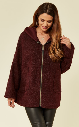 Burgundy Faux Shearling Coat by ROCK KANDY Product photo