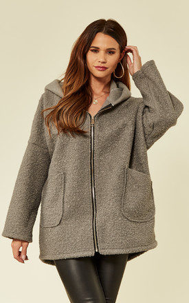 Grey Faux Shearling Coat by ROCK KANDY Product photo