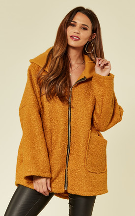 Mustard Faux Shearling Coat by ROCK KANDY Product photo