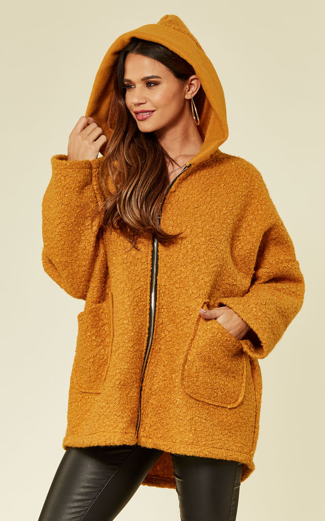Mustard Faux Shearling Coat by ROCK KANDY
