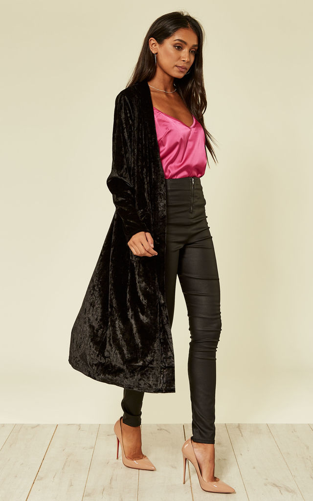 velvet duster coat in black by From London with Love