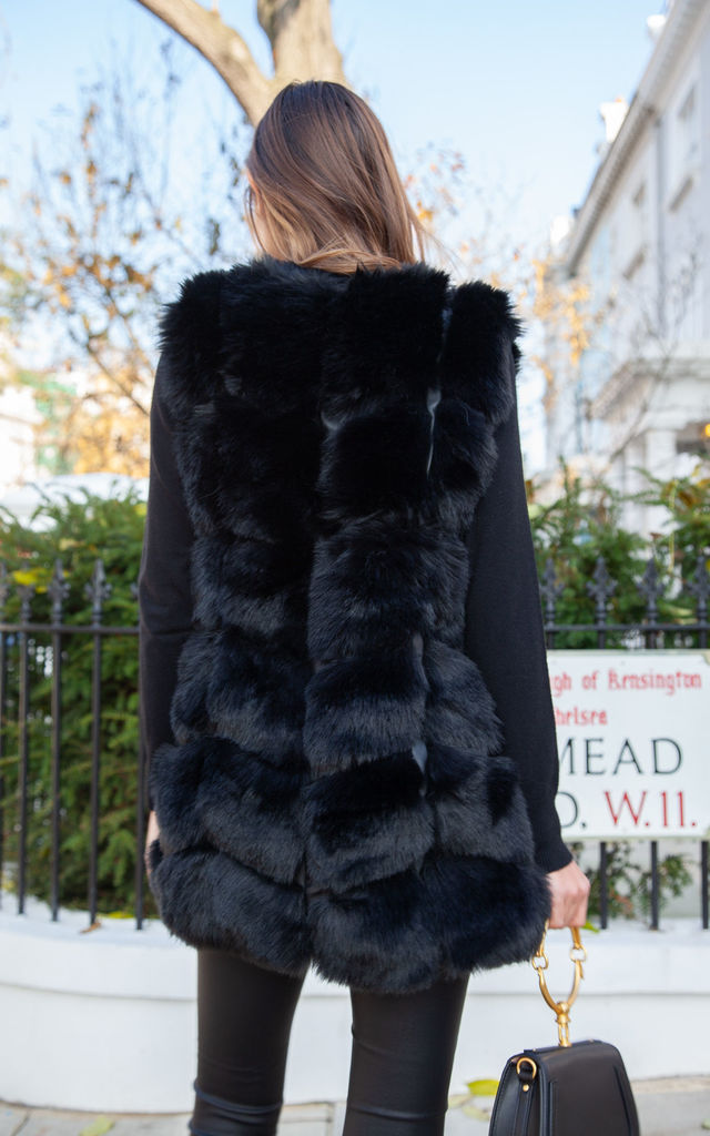Soho Black Faux Fur Panelled Gilet by Styled In London