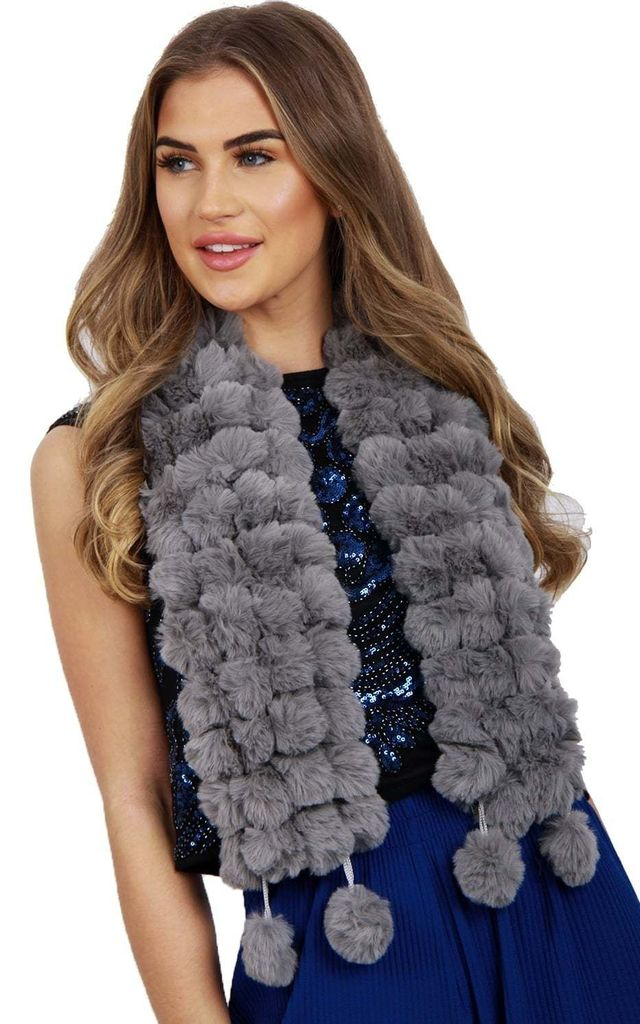 Dark Grey Fluffy FAUX Rabbit Fur Pom Pom Scarf by Urban Mist