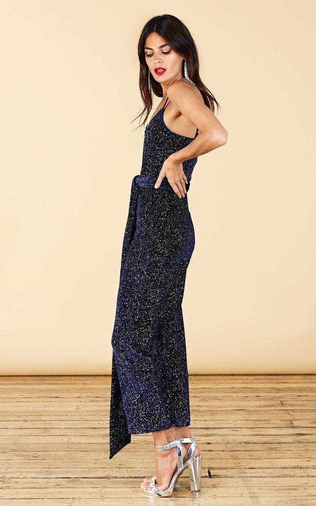 LEXI JUMPSUIT IN NAVY VELVET SPARKLE image