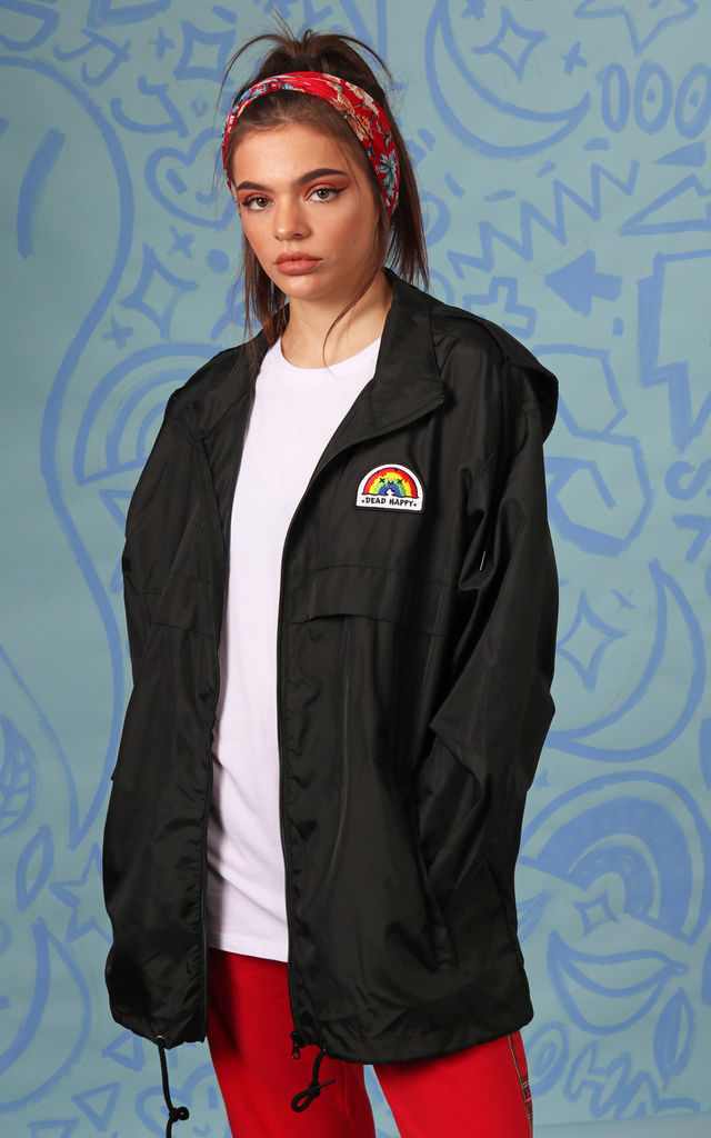 Black Windbreaker Waterproof Raincoat with Embroidered Rainbow Patch by 100 Hail Marys