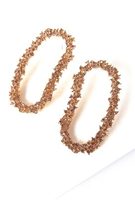 Champagne Gold Jewelled Oval Drop Earrings by Olivia Divine Jewellery