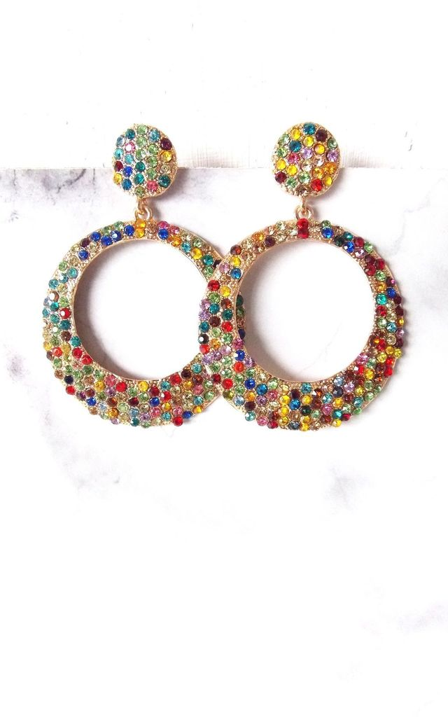 Multi-Coloured Jewelled Hoop Statement Earrings by Olivia Divine Jewellery