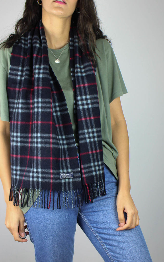 Vintage Burberry Check Cashmere Wool Scarf by Re:dream Vintage