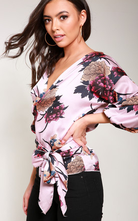 Pink Satin Floral Ruched Sleeve Wrap Top by Reckless Doll