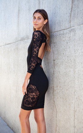 Black Lace Sleeve Backless Bodycon Midi Dress by Styled In London Product photo