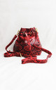 Red Snake Print Bucket Bag by Candypants