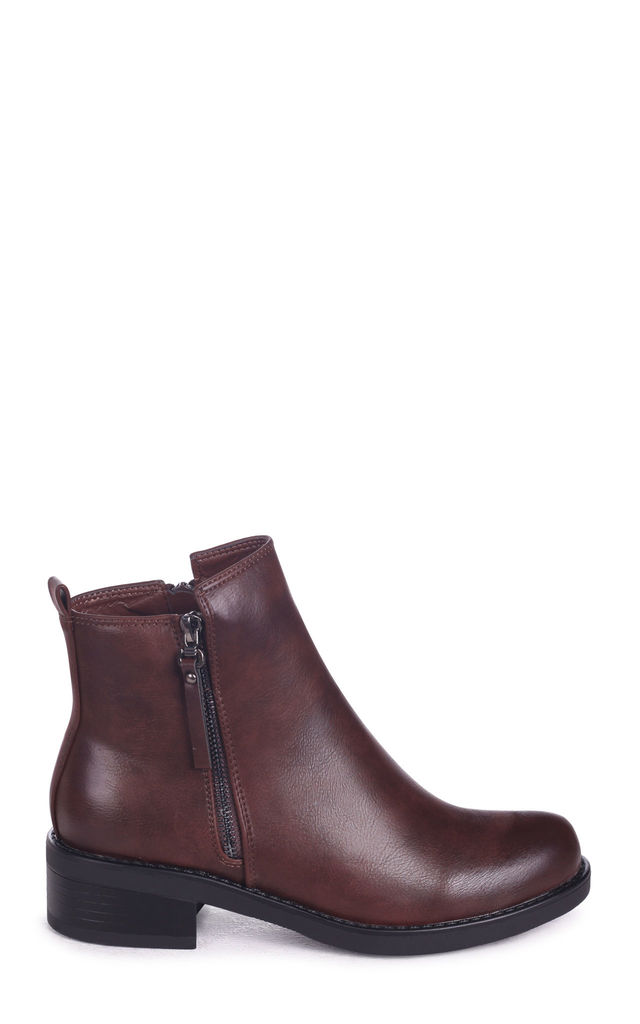 Texas Brown Nappa Classic Ankle Boot With Outer Zip Detail by Linzi