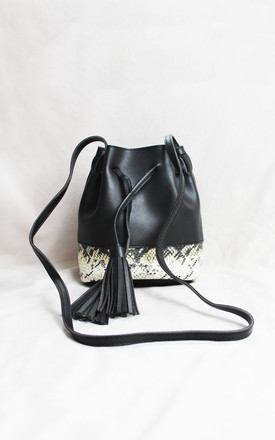 Black Snake Print Bucket Bag with Tassels by Candypants