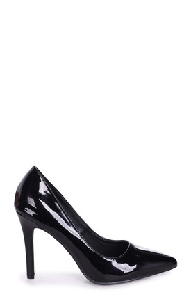 Colette Black Patent Classic Court Shoe with Stiletto Heel by Linzi