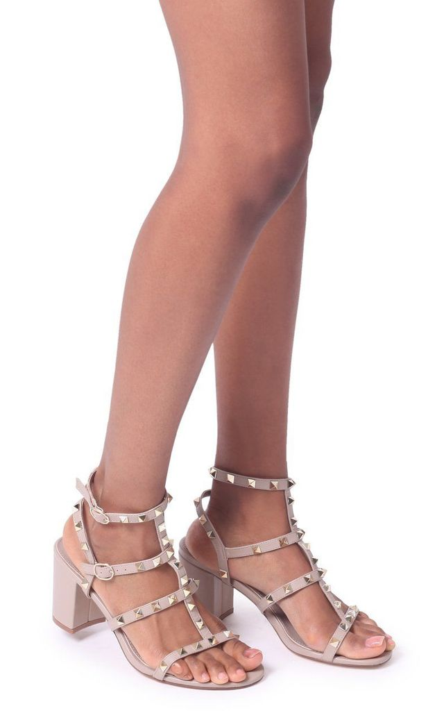 Tessa Taupe Block Heel Sandals with Studs by Linzi