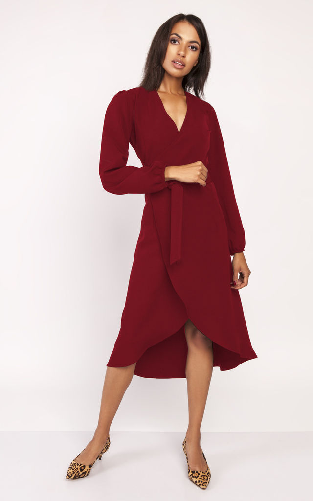 2f914f77b2c9 Wrap Dress With Long Sleeve In Wine by 4FASHION Lanti 5732465965